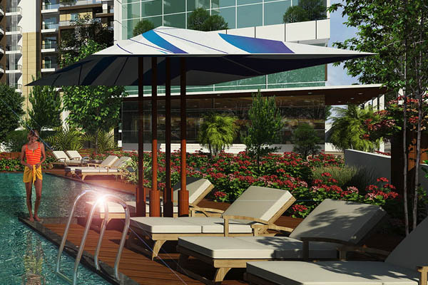 umbrella seating and lounge chairs